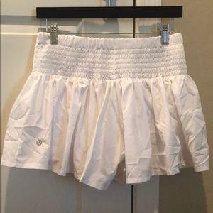 Lululemon white shorts, looks like a skort